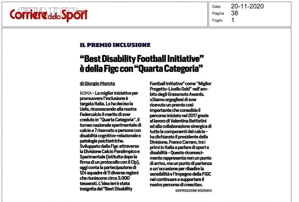 "Corriere dello Sport 20/11/2020: ""Best Disability Initiative"" è della FIGC con ""Quarta Categoria"""